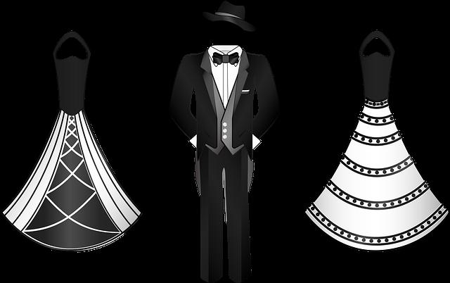 kreslené večerní šaty a tuxedo pro muže